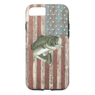 Vintage America Flag Bass Fishing Case