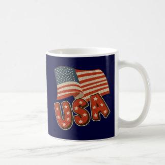 Vintage America Flag Classic White Coffee Mug
