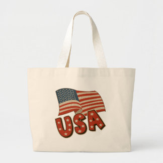 Vintage America Flag Large Tote Bag
