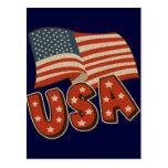 Vintage America Flag Post Card