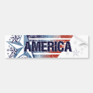 Vintage America Flag with Star – Fourth of July Bumper Sticker