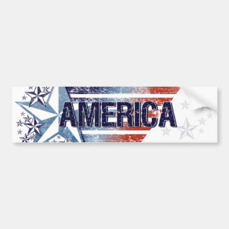 Vintage America Flag with Star – Memorial Day Bumper Sticker