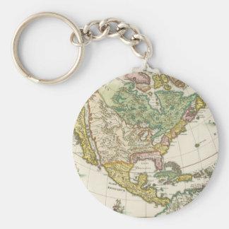 Vintage America Map - Borealis 1699 Basic Round Button Keychain