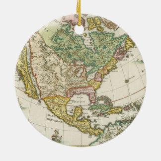 Vintage America Map - Borealis 1699 Ceramic Ornament