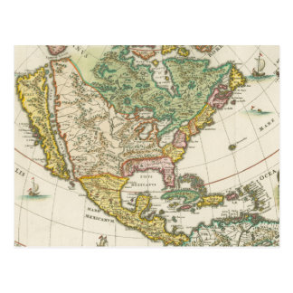 Vintage America Map - Borealis 1699 Postcard