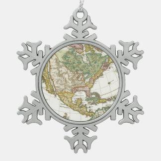 Vintage America Map - Borealis 1699 Snowflake Pewter Christmas Ornament
