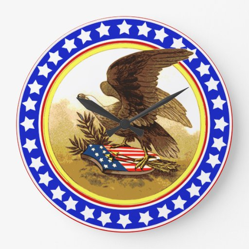 Vintage American Bald Eagle Large Clock