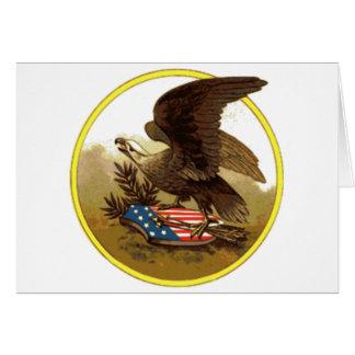 Vintage American Bald Eagle on Shield Card