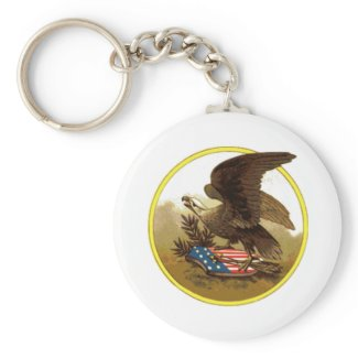 Vintage American Bald Eagle on Shield Basic Round Button Keychain