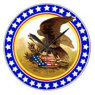 Vintage American Bald Eagle w/Shield Wall Clock