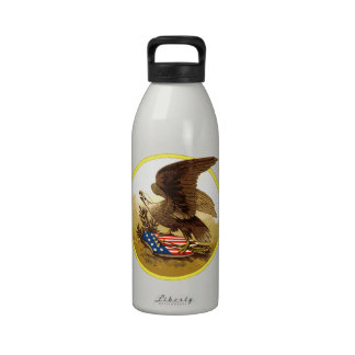 Vintage American Bald Eagle w Shield Reusable Water Bottle