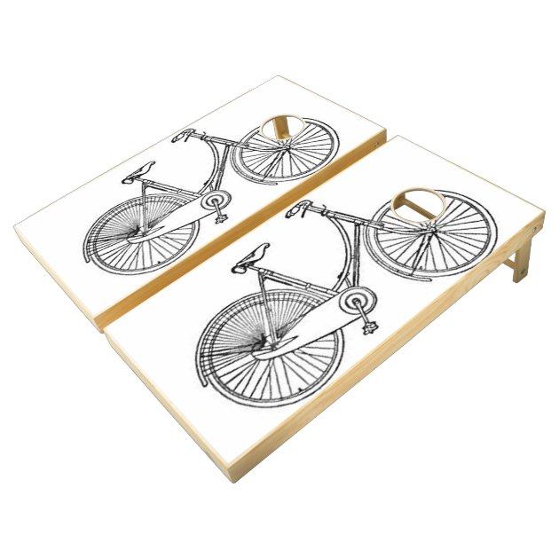 Vintage American Bicycle Diagram Cornhole Set
