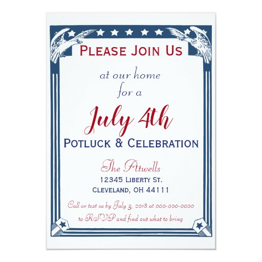 Vintage American Blue Stars Eagle July 4th Potluck Card
