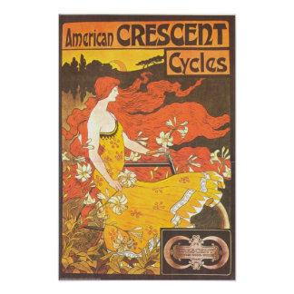 Vintage American Crescent Cycles Ad - GORGEOUS Print
