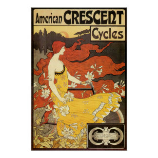 Vintage American Crescent Cycles Advertisement Poster