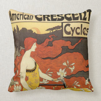 Vintage American Crescent Cycles Advertisement Throw Pillow