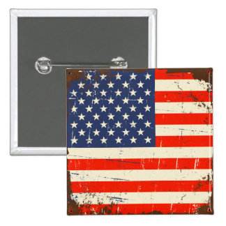 Vintage American Flag 2 Inch Square Button