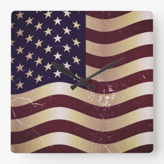 Vintage American Flag 2 Square Wall Clock
