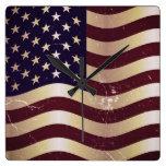 Vintage American Flag 2 Wallclock