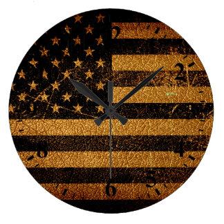 Vintage American Flag #3 Large Clock