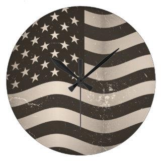 Vintage American Flag 3 Large Clock