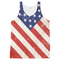 Vintage American Flag All-Over-Print Tank Top