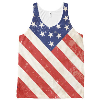 Vintage American Flag All-Over Print Tank Top