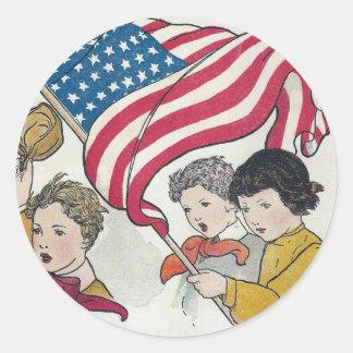Vintage American Flag and Children Classic Round Sticker