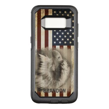 USA Themed Vintage American Flag and Eagle, Personalized OtterBox Commuter Samsung Galaxy S8 Case