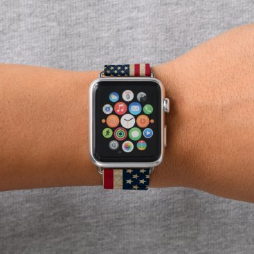 USA Themed Vintage American Flag Apple Watch Leather Band