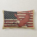 Vintage American flag bald eagle decorative pillow