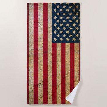 USA Themed Vintage American Flag Beach Towel