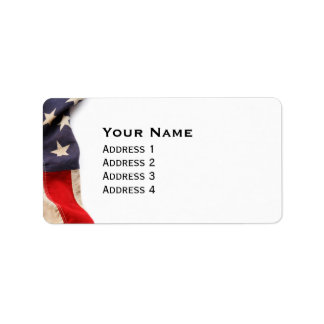 Vintage American Flag Border Label