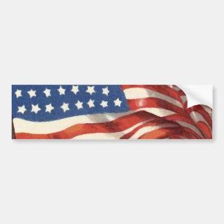 Vintage American Flag Bumper Sticker
