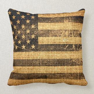 Vintage American Flag Burlap Linen Rustic Jute Pillow