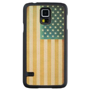 Vintage American Flag Carved Maple Galaxy S5 Slim Case