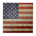 "Vintage American Flag Ceramic Tile<br><div class=""desc"">An aged,  weathered US flag with an antique finish.</div>"