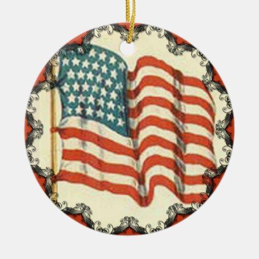 Vintage american flag christmas ornament zazzle
