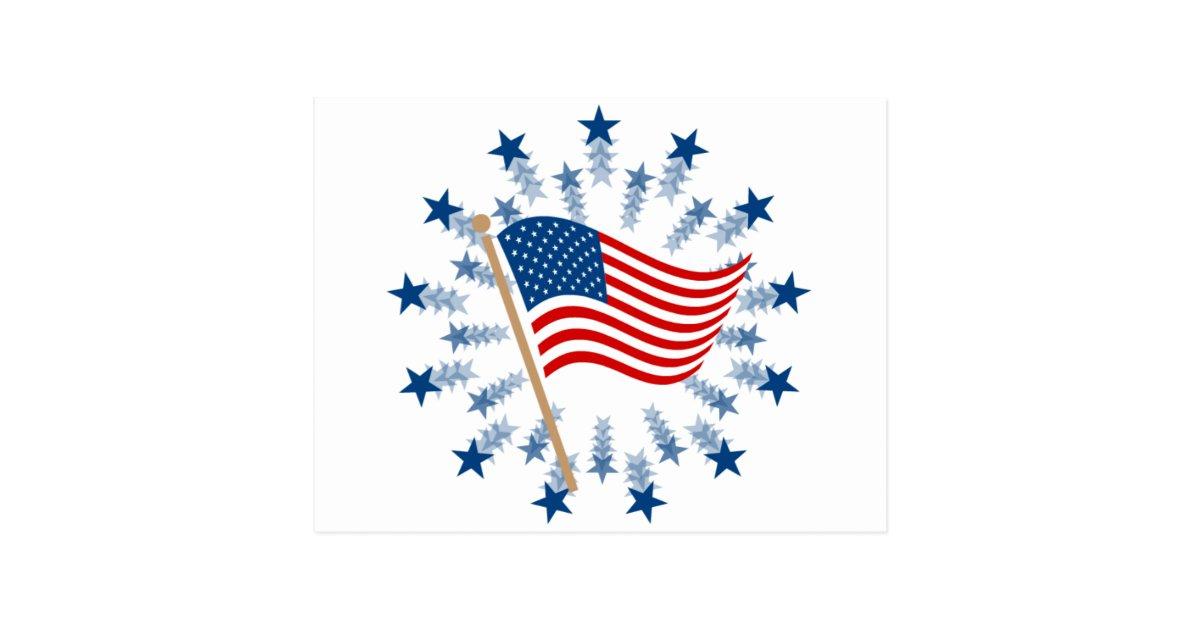 Vintage American Flag Clip Art Postcard   Zazzle.com