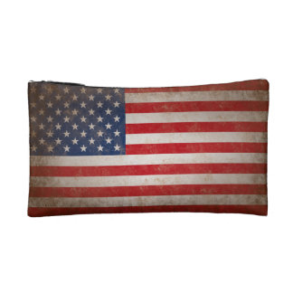 Vintage American Flag Cosmetic Bag