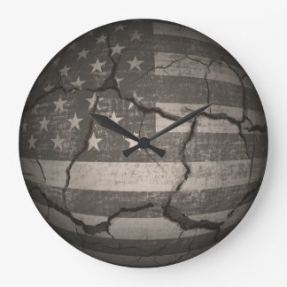 Vintage American Flag Cracked Global Large Clock