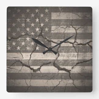 Vintage American Flag Cracked Wall Square Wall Clock