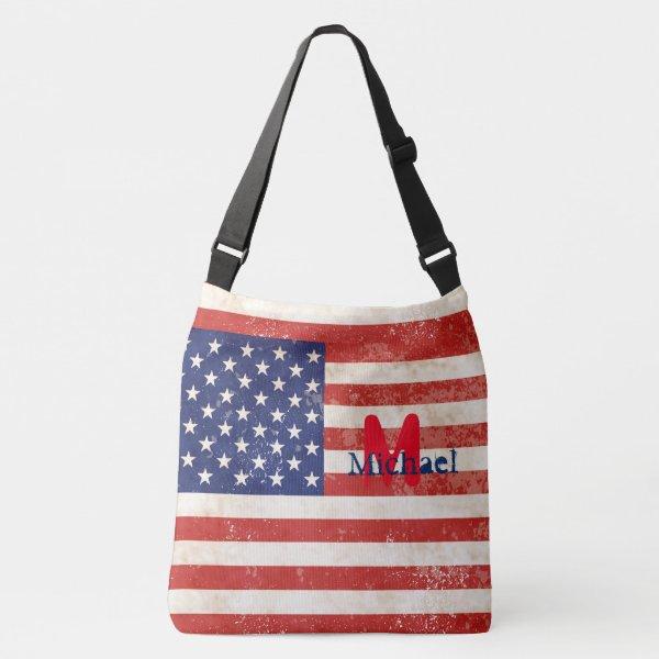 Vintage American Flag Crossbody Bag
