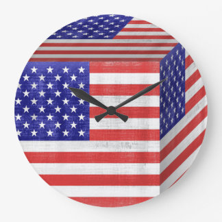 Vintage American Flag Cube Large Clock