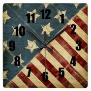 Vintage American Flag Decorative Square Wall Clock
