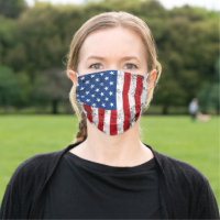 Vintage American Flag Design Red White Blue USA Cloth Face Mask