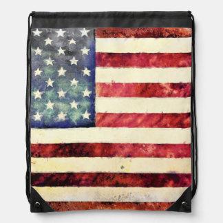 Vintage American Flag Drawstring Bags