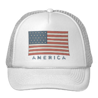 Vintage American Flag Faded Grunge America Trucker Hat