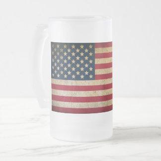 Vintage American Flag Frosted Glass Mug
