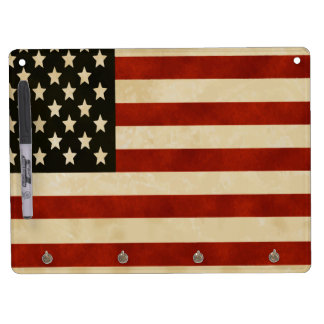 Vintage American Flag GIFTS Dry Erase Board With Keychain Holder